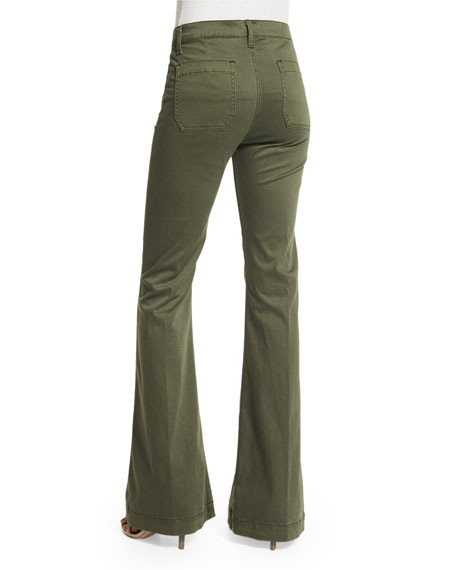 Taylor High-Waist Flare-Leg Jeans, Green