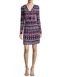 Long-Sleeve Fern-Print Matte Jersey Dress