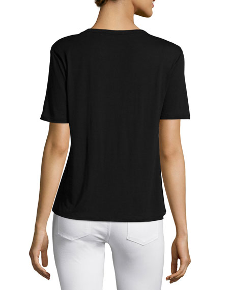 Classic Cropped Tee w/ Pocket, Black
