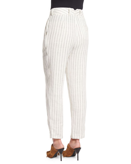 Pinstripe Linen Carrot Pants, Cloud