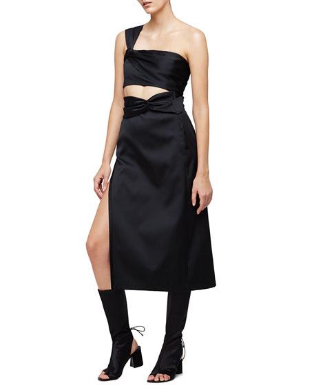 Satin Knotted Tea-Length Skirt, Black