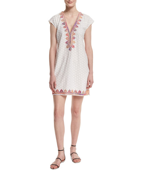 Sashka V-Neck Embroidered Dress, Coconut