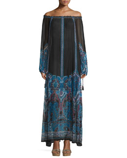 Austrina Off-The-Shoulder Maxi Dress, Navy