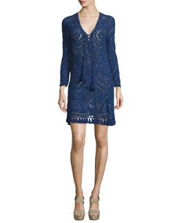 Perfa Long-Sleeve Tunic Dress, Navy