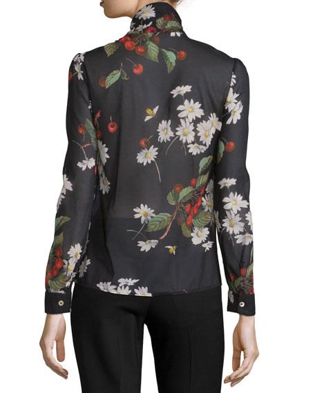 Tie-Neck Flowers & Cherries Chiffon Blouse