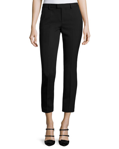 Mid-Rise Skinny Ankle Trousers, Black