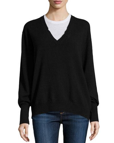 Chris V-Neck Cashmere Sweater, Black Lash