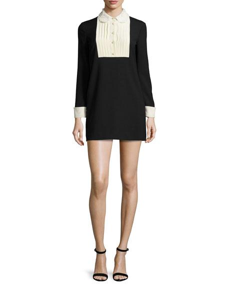 Long-Sleeve Two-Tone Mini Dress