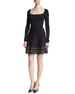 Long-Sleeve Floral-Hem Dress, Black