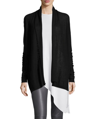 Cashmere Open-Front Cardigan, Black