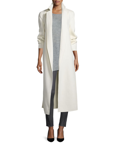 Wool-Blend Long Wrap Coat, Off White