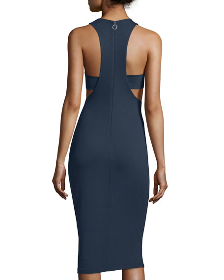 Sleeveless Ponte Bandeau Midi Dress, Marine