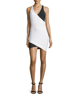 Tali Sleeveless Two-Tone Dress, Ivory/Black