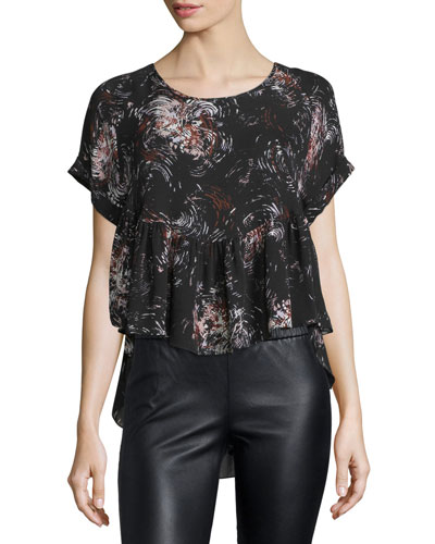 Sissy Short-Sleeve Printed Top, Black