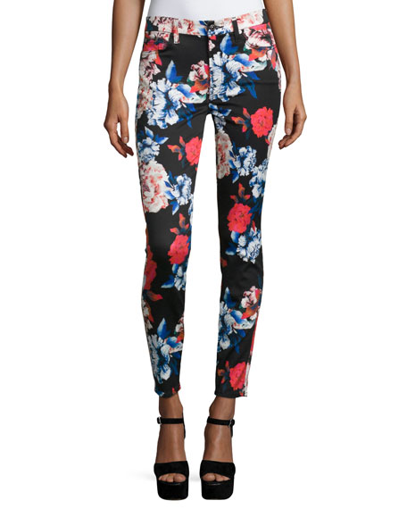 The Mid-Rise Ankle Skinny Jeans, Peony Floral