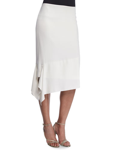 Asymmetric Pencil Skirt, Off White