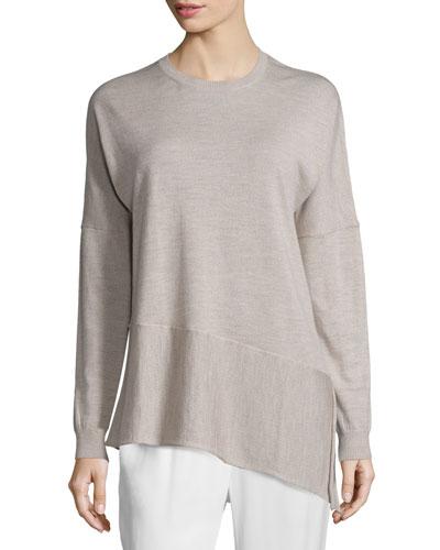 Asymmetric Cashmere Tunic, Oatmeal