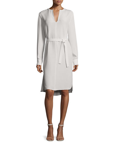 Long-Sleeve Peggy Silk Shirtdress, Putty