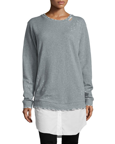 Scarlet Overcast Distressed Pullover Tunic, Gray/White