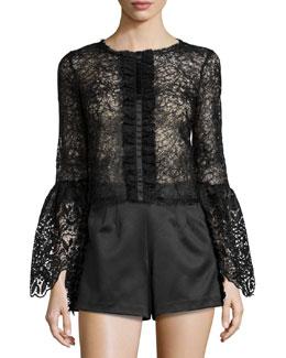 Mark Long-Sleeve Lace Top, Black