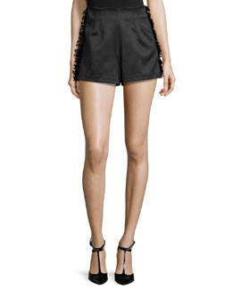 Sandy High-Waist Shorts W/Frayed-Trim, Black