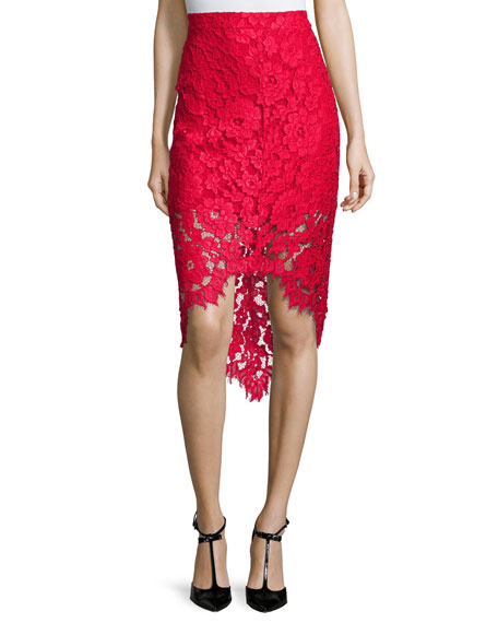 Wendy Lace High-Low Pencil Skirt, Red