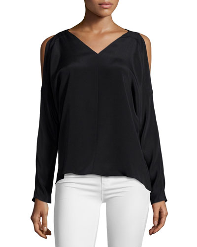 Riley Cold-Shoulder V-Neck Top, Black
