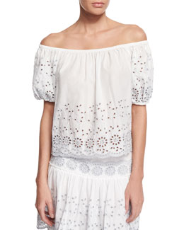 Boxy Off-the-Shoulder Eyelet Top, White