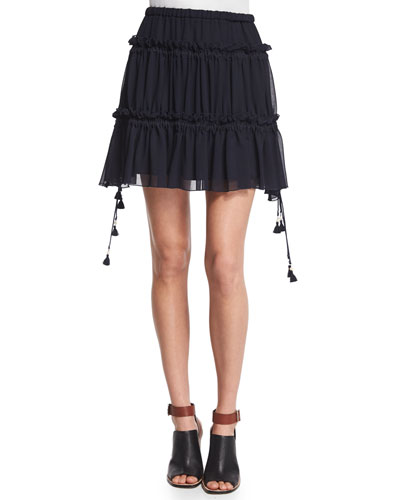 Tiered Georgette Mini Skirt, Dark Navy