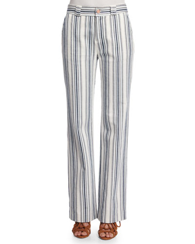 Striped Boot-Cut Trousers, Surfing Blue
