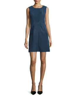 Capreena Sleeveless Suede Mini Dress, Deep Indigo