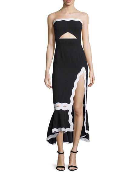 Strapless Crepe Midi Dress, Black