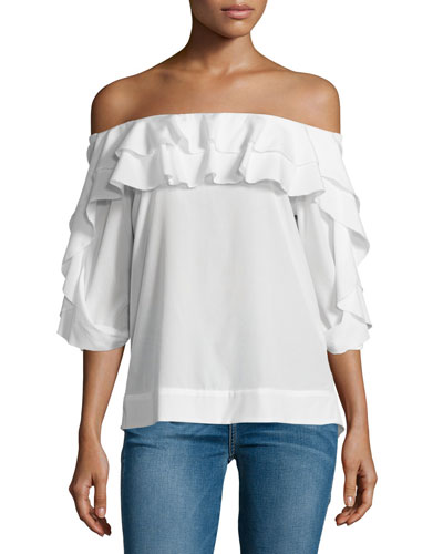 Monroe Off-the-Shoulder Top, Ivory