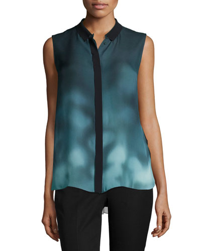 Sleeveless Printed-Front Blouse, Atlantis
