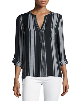 Oden Multi-Striped Silk Top