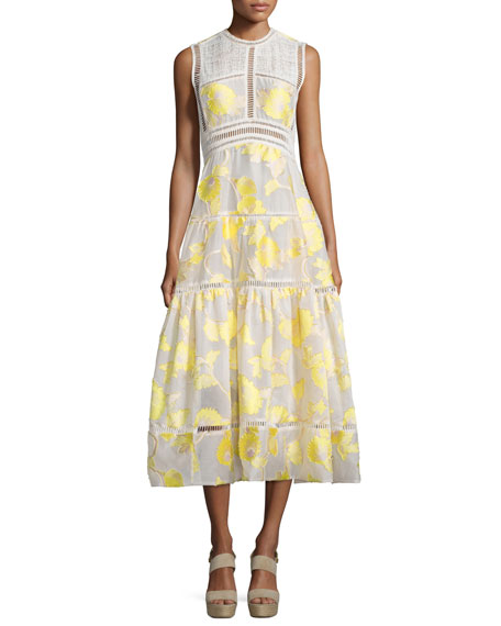 Ella Sleeveless Floral Tea-Length Dress, Lemon