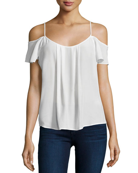 Adorlee Cold-Shoulder Silk Top, Porcelain