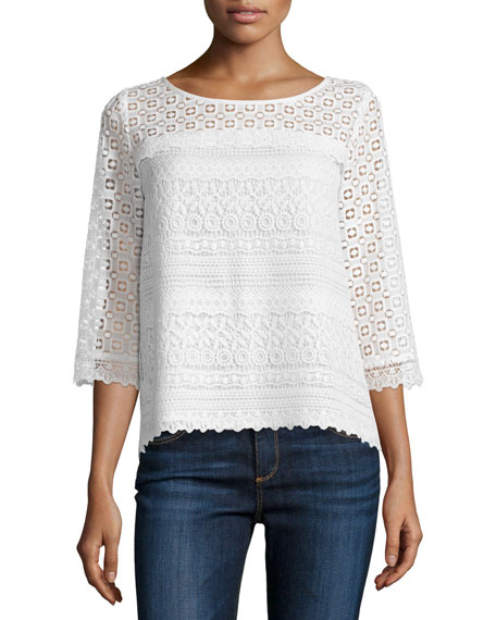 Kyndra Embroidered Lace Top