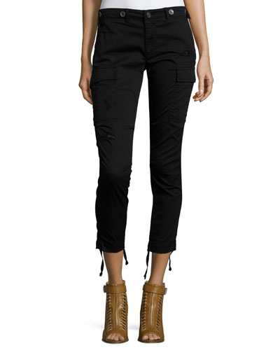 Rowan Skinny Cropped Pants, Black Destructed