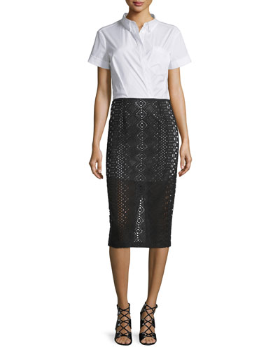 Pilar Short-Sleeve Pencil Dress, White/Black