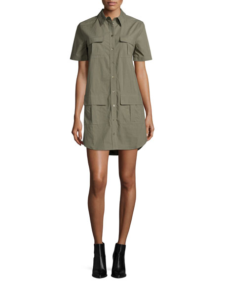 Remy Short-Sleeve Utility Shirtdress, Dusty Olive