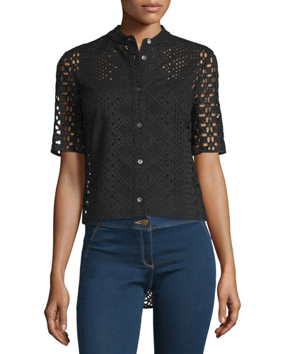 Starboard Boxy Lace Shirt, Black
