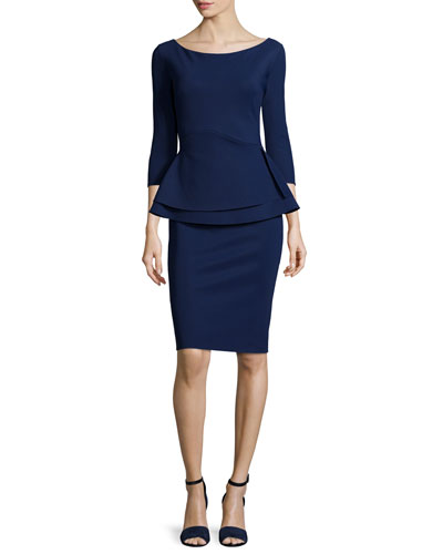 Tilda 3/4-Sleeve Peplum Sheath Cocktail Dress