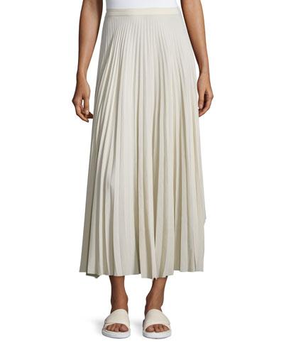 Pleated Chiffon High-Waist Midi Skirt, Oyster