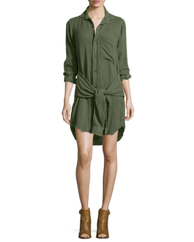 The Twist Button-Front Shirtdress, Light Olive