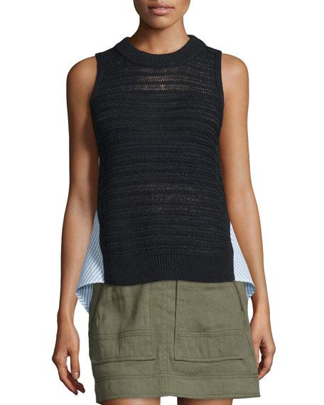 South Beach Sleeveless Combo Sweater, Black