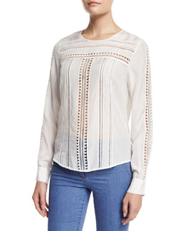 Coral Gables Ladder-Stitched Silk Top, White