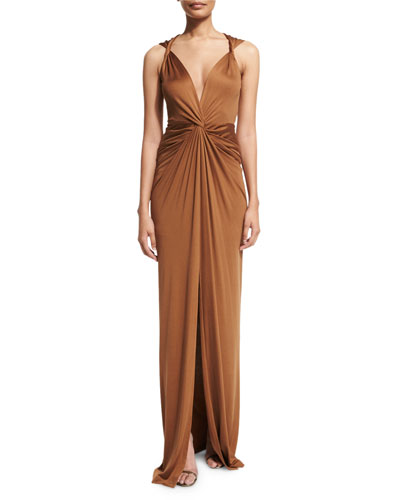 Dragonfruit Silk V-Neck Maxi Dress, Bronze