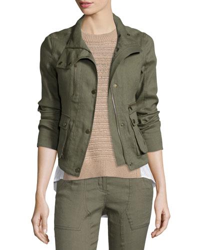 Everglade Linen-Blend Woven Jacket, Army Green