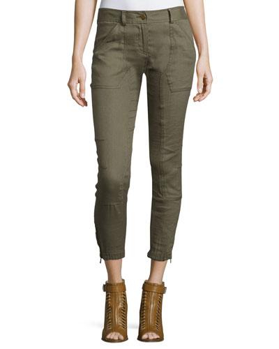 Caladium Cropped Zip-Trim Cargo Pants, Army Green